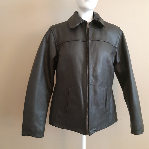 100% leather brown winter jacket
